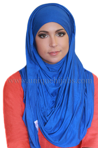 Maxi Jersey Hijab-Electric Blue