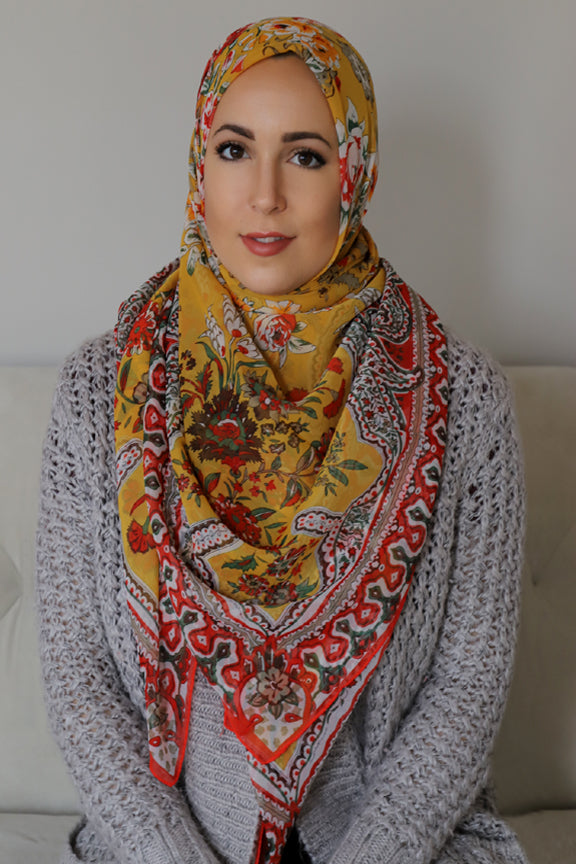 Mosaic Square Hijab-Yellow