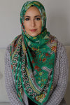 Mosaic Square Hijab-Green
