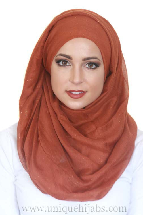 Gold Dust Light Hijab-Rust