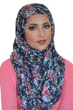 Jersey Hijab Floral-Navy