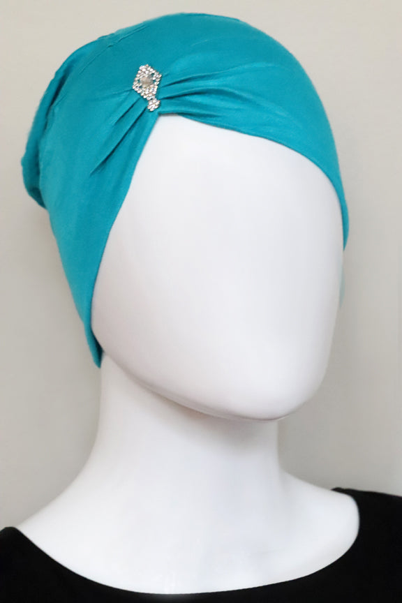 Jewel Pleat Bonnet-Teal