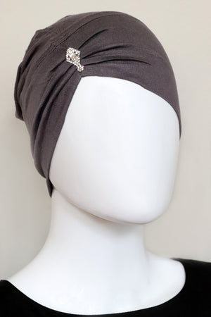 Jewel Pleat Bonnet-Grey