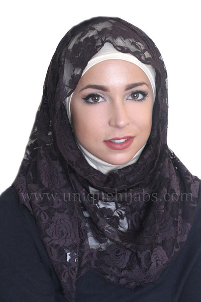 Lace Hijab Accent-Dark Brown