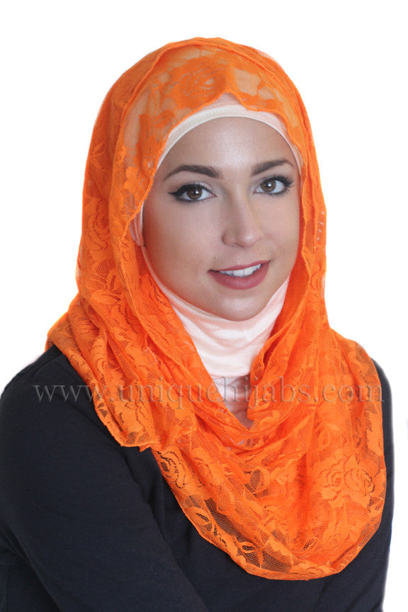 Lace Hijab Accent-Orange