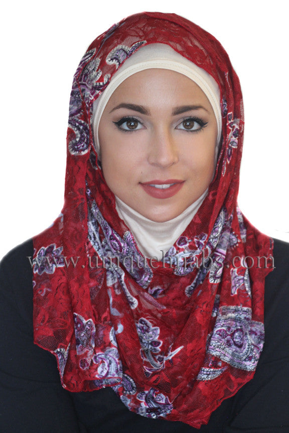 Lace Hijab Paisley-Dark Red