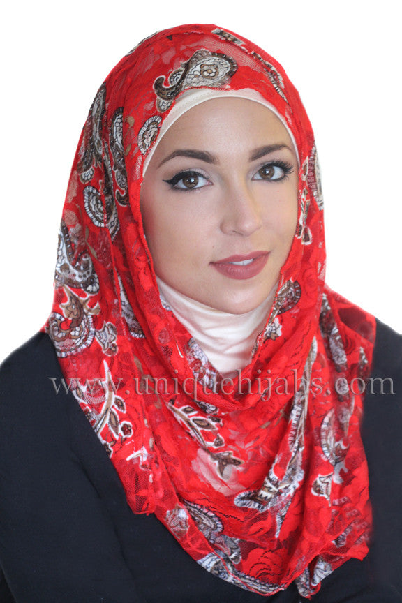 Lace Hijab Paisley-Bright Red