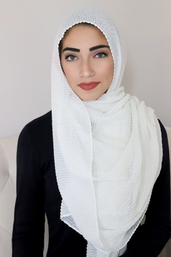 Pleated Light Hijab-White