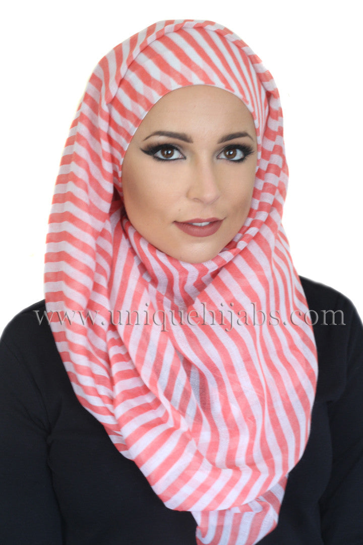 Nautical Maxi Light Hijab-Pink