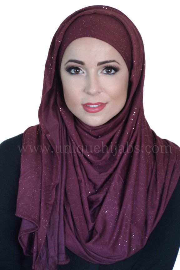 Shimmer Jersey Hijab-Plum