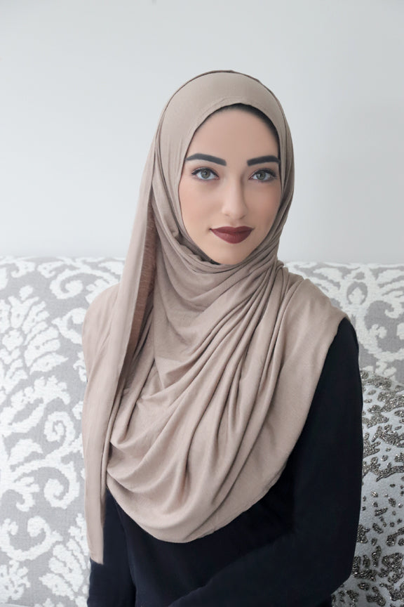 Taupe Instant Jersey Hijab