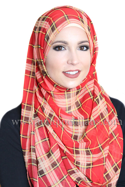 Plaid Chiffon Hijab-Red
