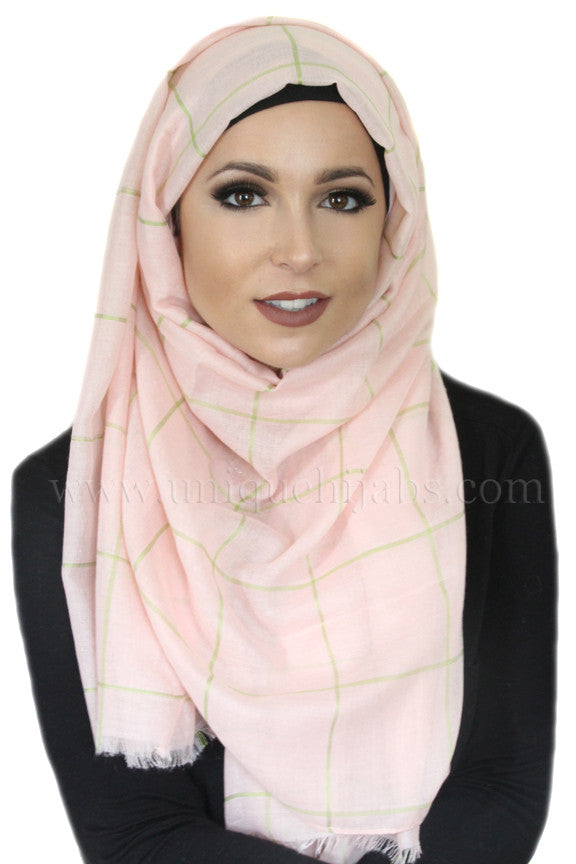 Check Print Light Hijab-Peach