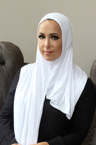 White Instant Jersey Hijab