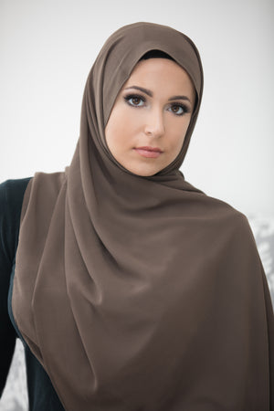Basic Size Chiffon Hijab-Light Brown