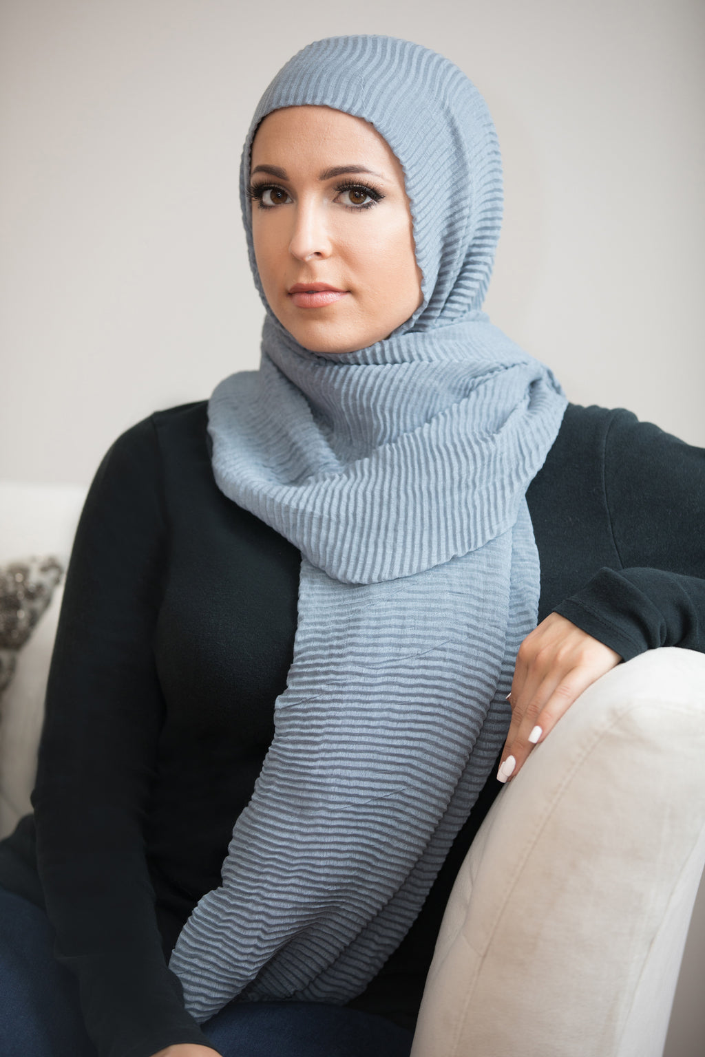 Pleated Light Hijab-Light Gray