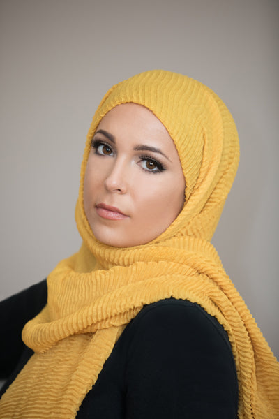 Pleated Light Hijab-Mustard
