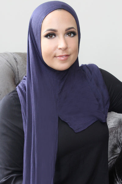 Navy Instant Jersey Hijab