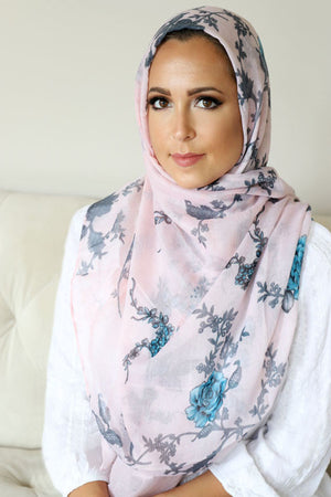 Floral Bliss Light Maxi Hijab-Pink