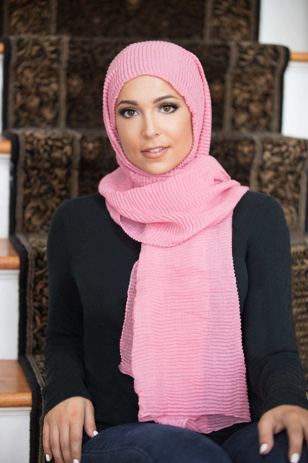 Pleated Light Hijab-Pink