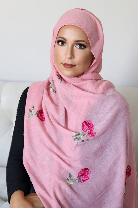 Floral Fantasy Light Hijab-Pink