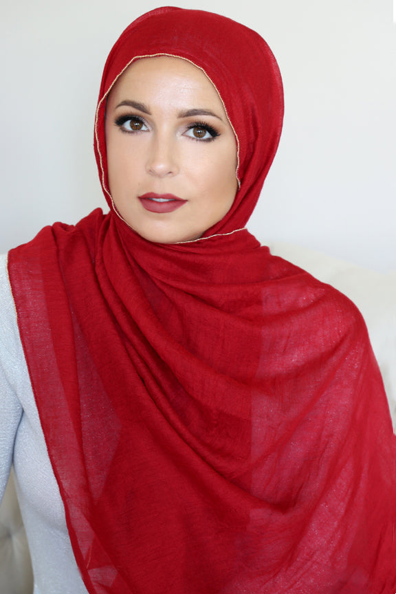 Gold Edge Hijab-Maroon