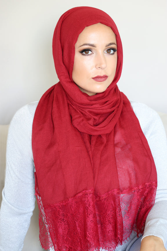 Lace Edge Light Hijab-Red