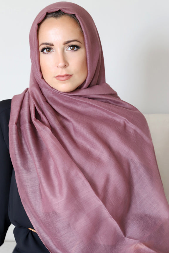 Luxury Light Hijab-Rosewood