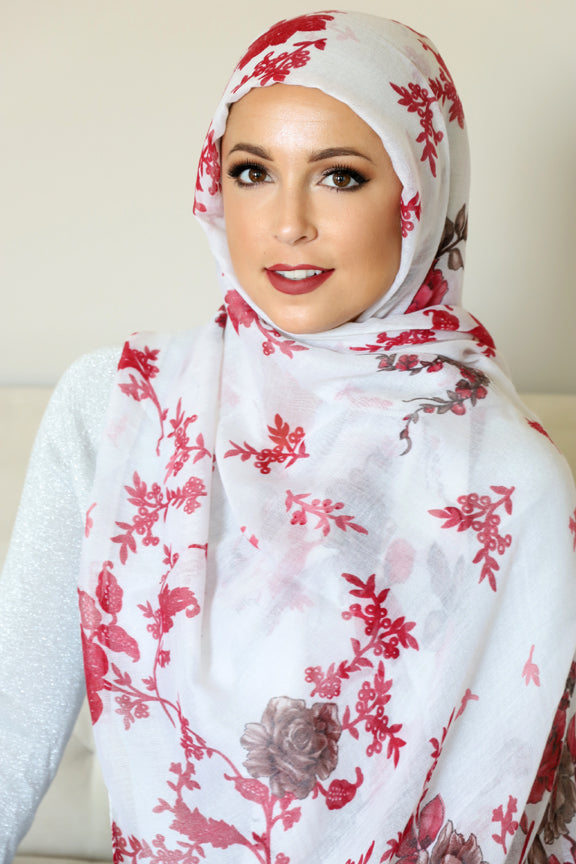 Floral Bliss Light Maxi Hijab-White Red