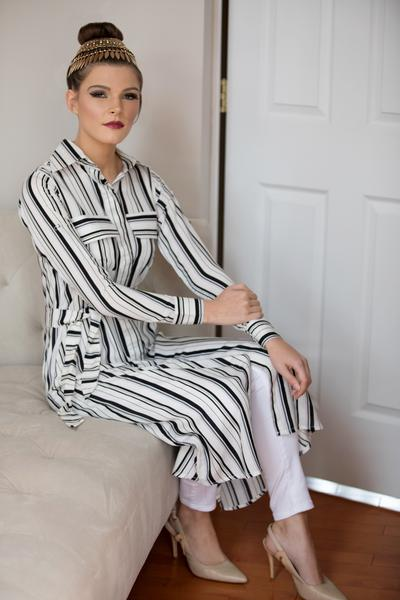 White Striped Shirt Dress