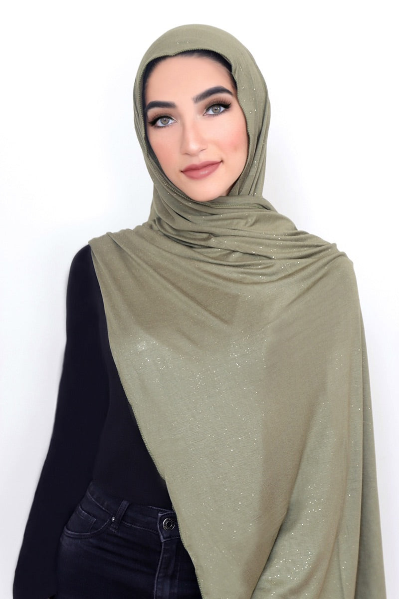 Small Shimmer Jersey HIjab-Olive