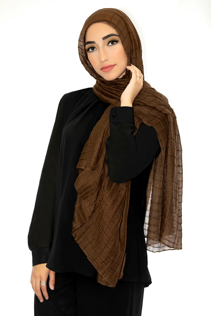 All Boxed Up Light Hijab-Brown