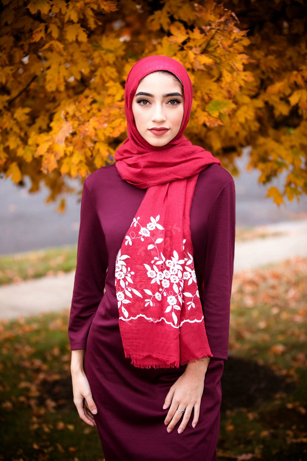 FLOWER GIRL EMBROIDERED VISCOSE HIJAB-Maroon