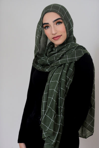 Check Print Light Hijab-Olive