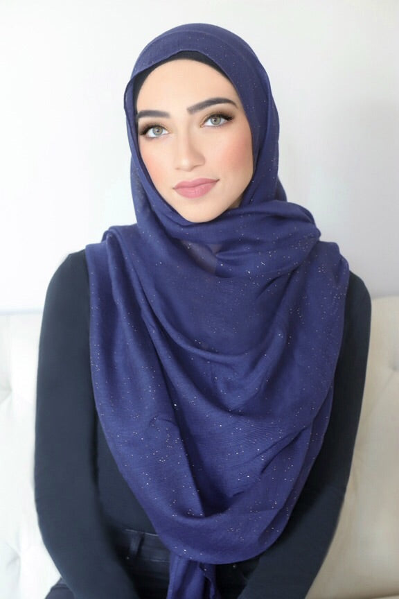 Gold Dust Light Hijab-Navy