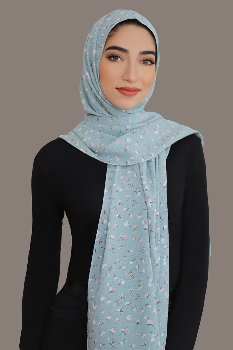 Timeless Beauty Crepe Hijab-Blue