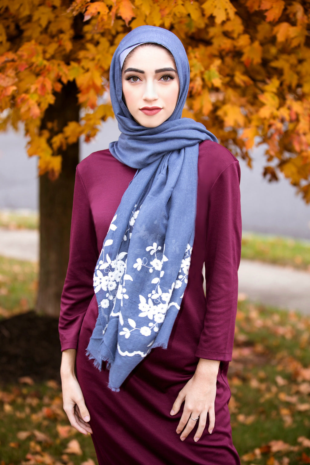 FLOWER GIRL EMBROIDERED VISCOSE HIJAB-Denim Blue