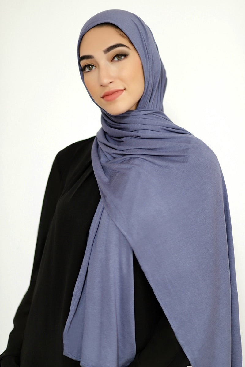 Luxury Jersey Hijab-Denim Blue