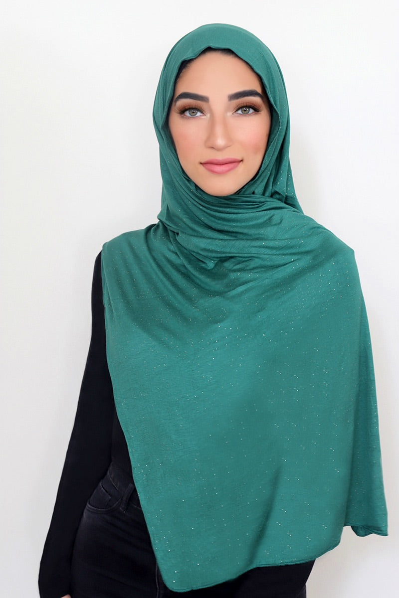 Small Shimmer Jersey HIjab-Emerald