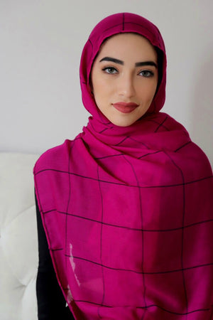 Check Print Light Hijab-Magenta