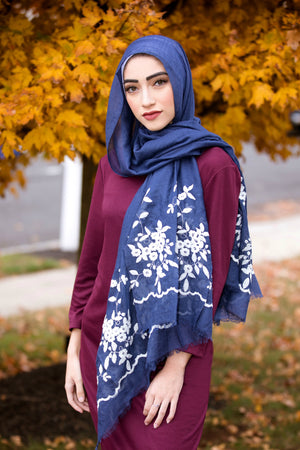 FLOWER GIRL EMBROIDERED VISCOSE HIJAB-Royal Blue