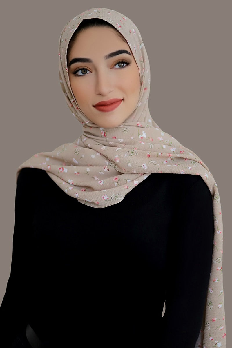 Timeless Beauty Crepe Hijab-Tan