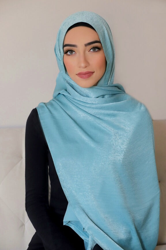 Metallic Shimmer Hijab-Mint