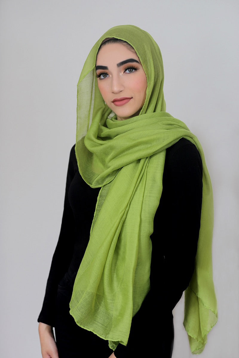Luxury Light Maxi Hijab-Apple Green