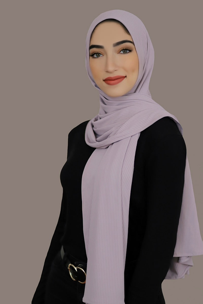 Ribbed Jersey Hijab-Lavender