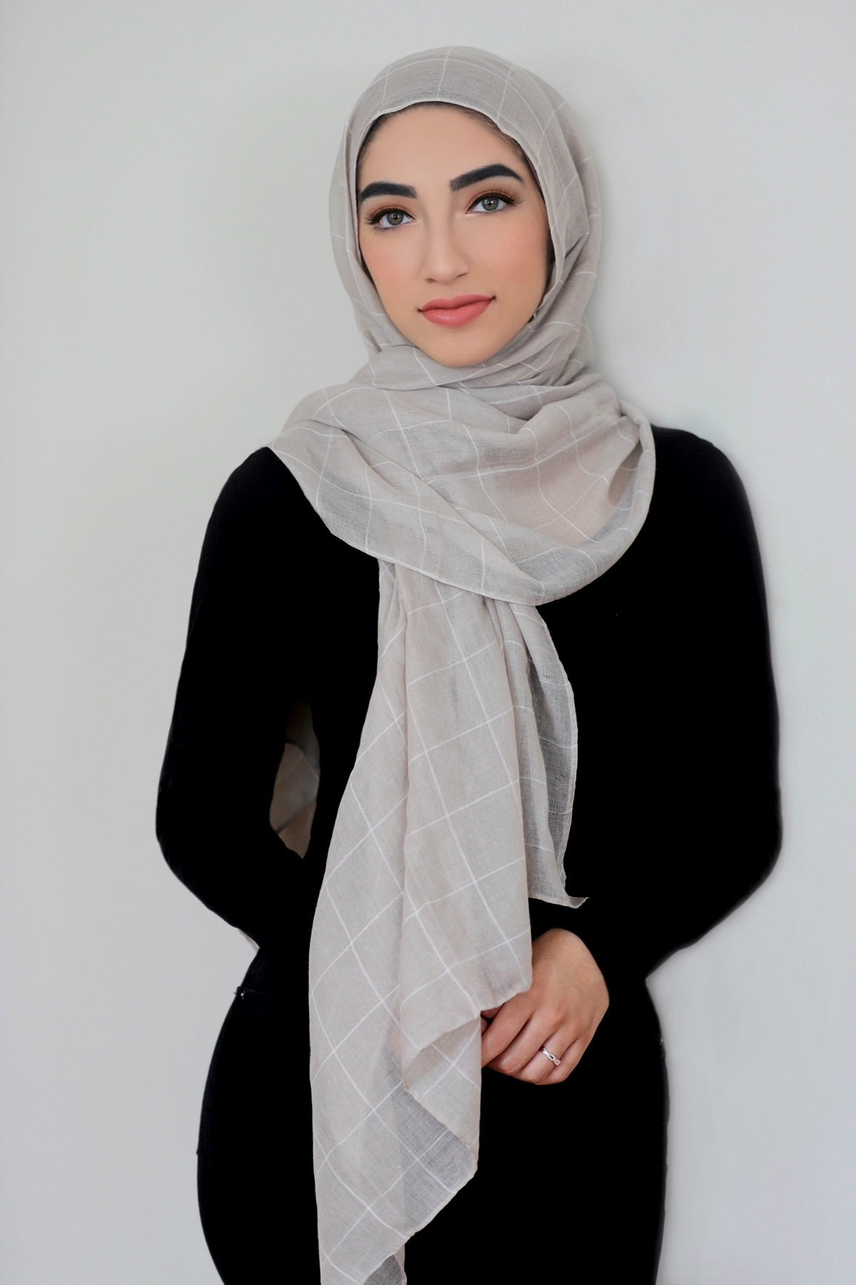 Check Print Light Hijab-Light Taupe