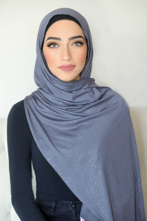 Small Shimmer Jersey HIjab-Dark Grey