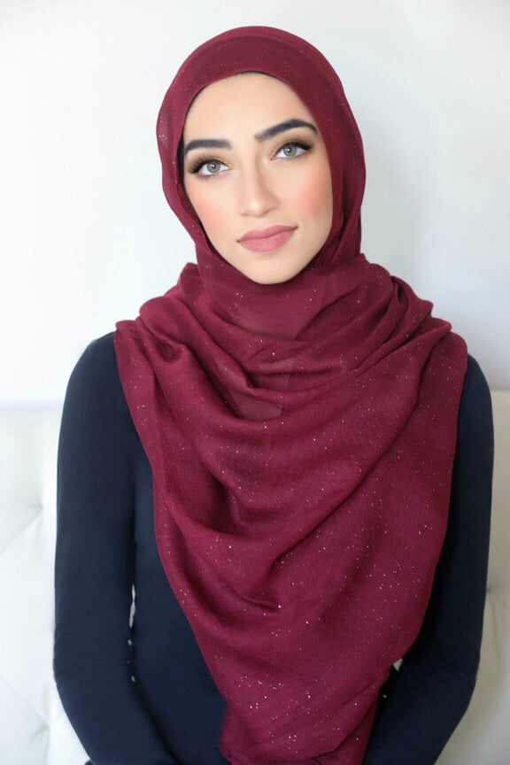 Gold Dust Light Hijab-Maroon