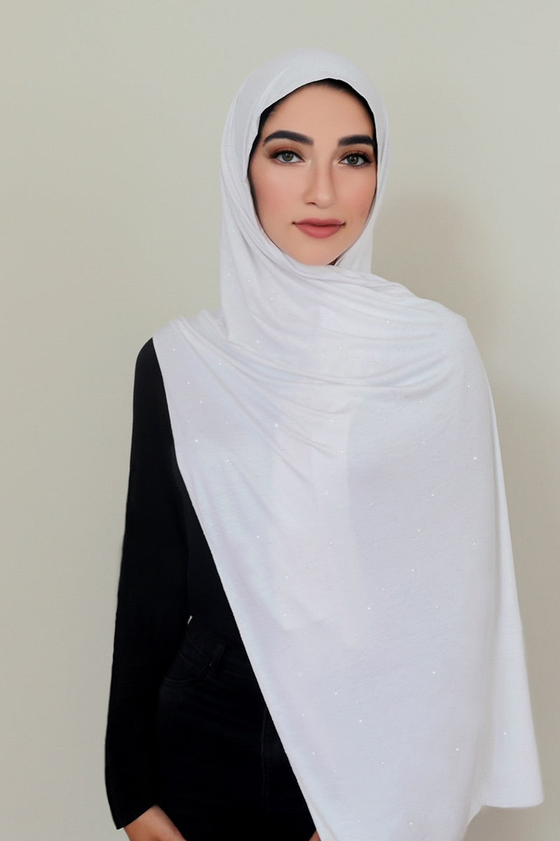 Small Shimmer Jersey HIjab-White
