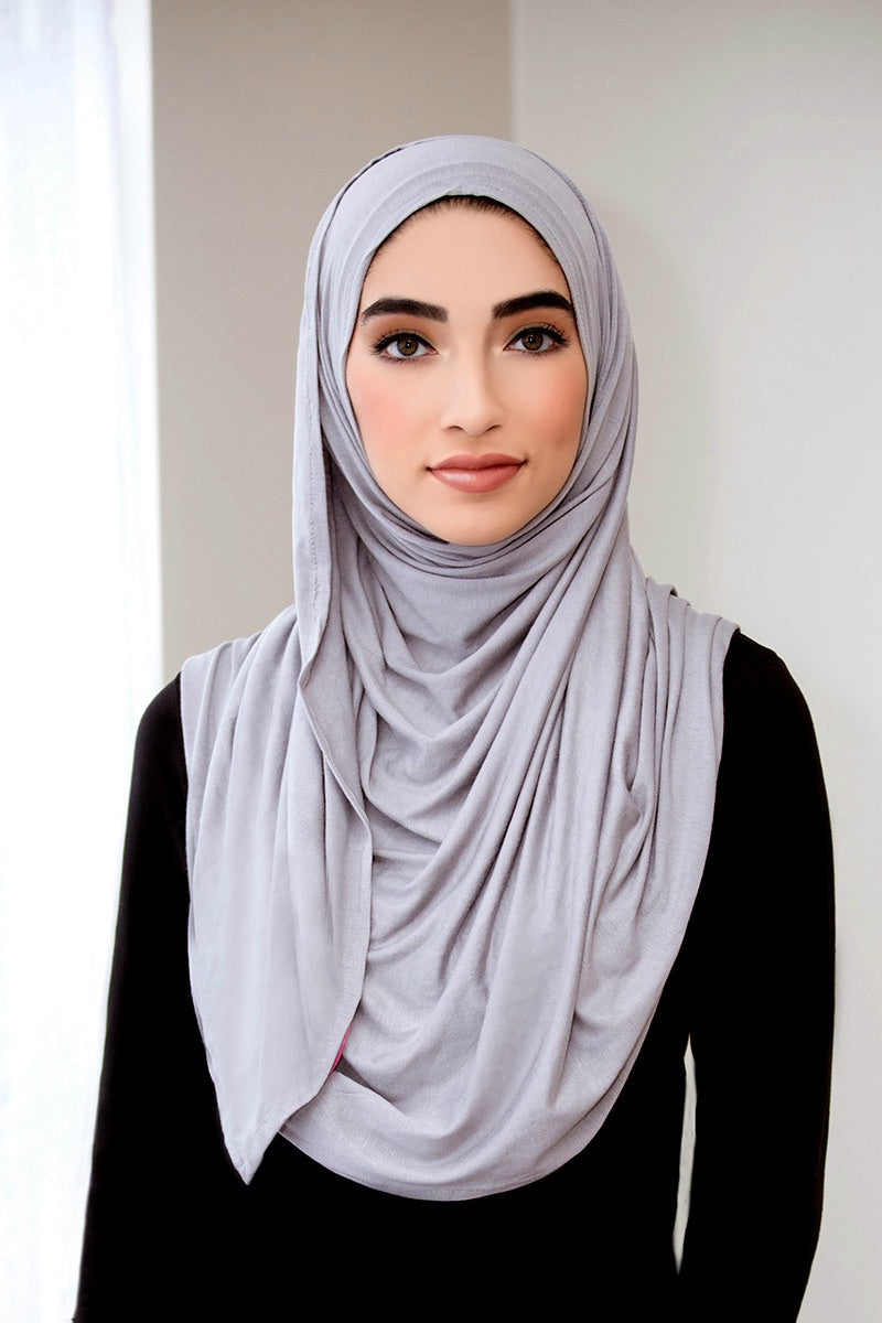 Light Gray Instant Jersey Hijab